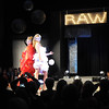 Brunton Architechts' entry in the Raw Fusion Fashion Show takes the stage, made from lamp pieces, LED lights and fabric blinds.