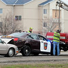 Traffic was slowed Wednesday afternoon as tow truck drivers work to clear a chain reaction crash involving a Minnesota State Patrol squad car Wednesday on State Highway 22 near the intersection with Madison Avenue. Photo by Pat Christman