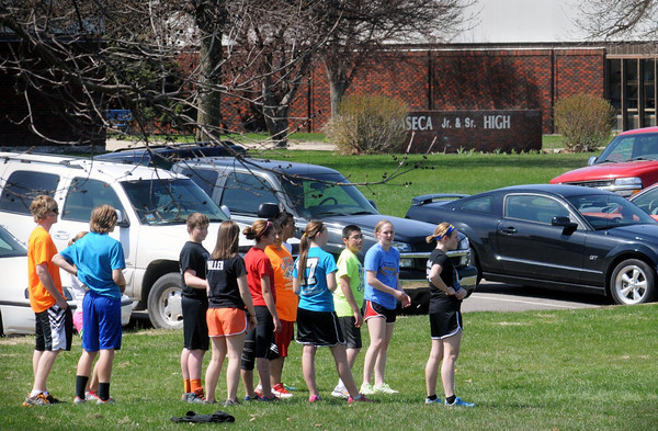 Students at the Waseca Junior and Senior High School in participate in outdoor activities on Monday.