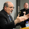 Waseca school superintendent Thomas Lee gestures during  a press conference Thursday, May 1, 2018, about a plot for Columbine-like attack on the Waseca High School in Waseca, Minnesota. Flanking him is Waseca Police Capt. Kris Markeson. A 17-year-old high school student was charged on Wednesday with four felony counts of first-degree attempted murder and several other counts relating to explosives. AP PHOTO/MANKATO FREE PRESS/JOHN CROSS