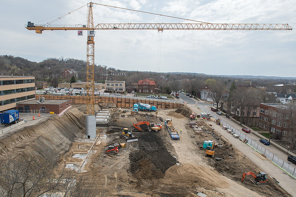 The construction site at the Blue Earth County Government Center with a 130-foot crane towering over the area. Photo by Jackson Forderer