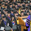 Minnesota State University chancellor Richard Davenport addresses the graduation class of 2018 at one of three commencement ceremonies held on Saturday at Bresnan Arena. MSU awarded 2,335 degrees this year. Photo by Jackson Forderer