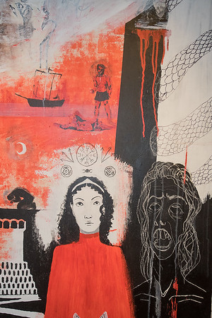 A detail from Georgia Bebler's painting Argonautika, on display in the Hillstrom Museum of Art on the Gustavus campus. Photo by Jackson Forderer