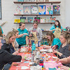 Ashley Rehder (second from left in turquoise) gives instructions to a group of St. Clair teachers during a craft night at Ruby Ranch Barn in rural Pemberton. Rehder said she gets a lot of her business by word of mouth, Facebook and Instagram. Photo by Jackson Forderer