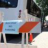 A rider boards a bus at a temporary bus stop on Second Street across from the Post Office Wednesday afternoon. The main downtown bus stop on the corner of Front and Cherry Streets had to be moved as workers repair a water main break this week.