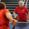 John Cross<br /> Dorothy Peterson takes on Mankato Mayor Eric Anderson in a game of table tennis at the Senior Expo held Tuesday at the Verizon Wireless Center.