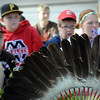 John Cross<br /> A ceremonial bustle of eagle feathers was part of a presentation by David Larsen to Monroe Elementary School students about Dakota culture.
