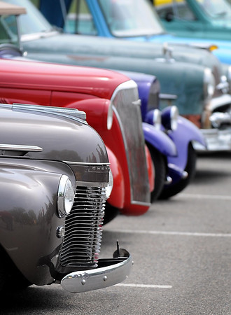Pat Christman<br /> Street rods are lined up during Saturday's judging.