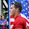 Wright Braudt<br /> Neil Schalk of Mankato proudly carried the American Flag for the entirety of the marathon.