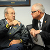 Rep. Tim Walz visits with veteran Virgil Marble during a visit to the Mankato VA Outpatient Clinic in Mankato on Monday. Photo by John Cross