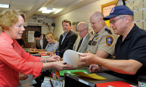 left to right: Patty O'Connor, Michael McLaughlin (filing for ward 1 counci,  Foreman, Campbell, McDermott, Peterson, Stuehrenberg