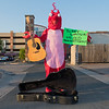 Colin Scharf as The Rock Lobster, along Cherry Street in downtown Mankato on Wednesday. Scharf has been using the outfit to help promote and raise funding for Good Night Gold Dust's upcoming new album. Photo by Jackson Forderer