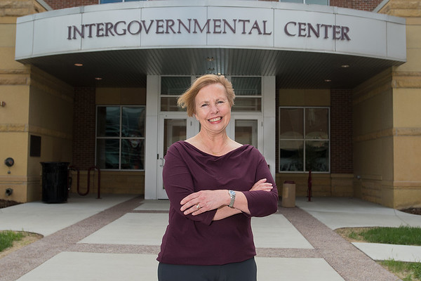 Patti Ziegler, Housing Coordinator for Mankato and Blue Earth County, outside of the Intergovernmental Center. Photo by Jackson Forderer
