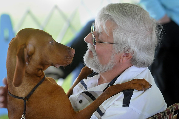 John Cross<br /> Paul Lange of Mankato goes nose-to-nose with a vizsla he helped raise.