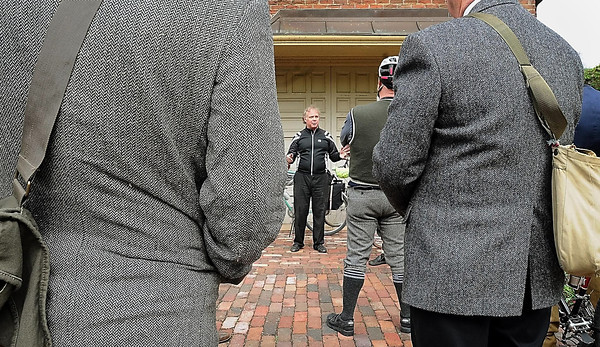 John Cross<br /> Knickers and tweeds were the dress of the day for participants of the Hubbard House's Tweed Ride Saturday as bike shop owner Jon Andersen gave them a brief history of biking in Mankato.
