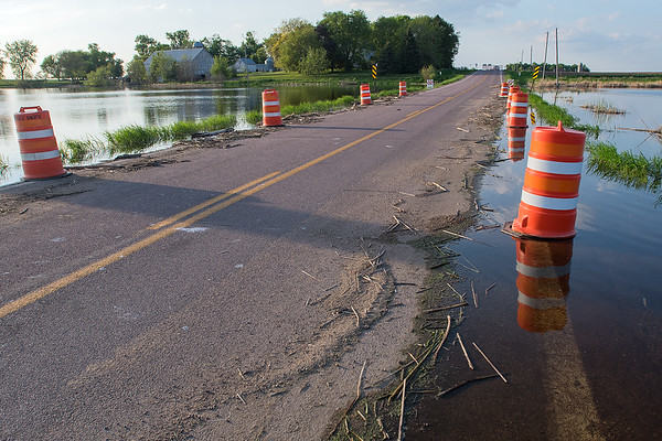 Highway 12, or 541st Ave., north of Courtland has been temporarily closed due to high water from the marsh on both sides of the highway. Photo by Jackson Forderer