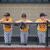 From left, Wilson Magers, 12, Brody Koberoski, 11 and Sam Gersich, 12 of the Mankato Royals 12AAA Gold little league team wait for their game to start in the dugout at the newly remodeled Franklin Rogers Park on Friday. Photo by Jackson Forderer