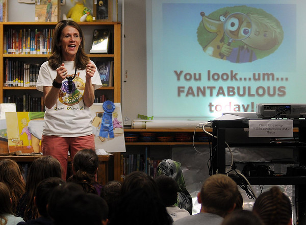 Minnesota children's book author Mary Blechwehl talks to Jefferson Elementary students about the process of creating a book on Monday. Photo by John Cross