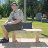 Connor Maday created a veterans memorial bench at Kasota Hill Cemetery as an Eagle Scout project. Vetterstone donated the stone for the memorial. Photo by Jackson Forderer