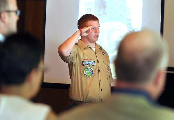 "Eagle Scout Cody Taylor leads ""The Pledge of Allegiance"" at a Scouting Leadership Luncheon recently at the Loose Moose in Mankato. Last week Twin Valley Council held events to help celebrate the 100th anniversary of the Eagle Scout Award."