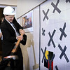 John Cross<br /> Glen Taylor wields a sledge hammer Friday at a ceremonial kick-off of the Mankato Family YMCA's $3 million remodeling and renovation project. Taylor was a majojr benefactor of the project that will include remodeling of the lobby and locker room, increased program space, new HVAC systems and parking lot expansion.