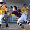 Minnesota State's Lucas Skjefte dodges the tag from University of Minnesota Duluth catcher Mike Darley during the second inning of their NSIC tournament game Wednesday at Franklin Rogers Park.