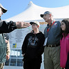 John Cross<br /> Gov. Mark Dayton wasn't telling tales of the big one that got away, but making a point as he visited with Minnesota Department of Natural Resources Commissioner Tom Landwehr, flanked by (from left) his son, Hunter, niece, Mandy, and daughter, Jocelyn, after a morning on the water. Dayton  wasn't quite skunked, catching a bluegill on his morning excursion onto Lake Waconia, west of the Twin Cities during  the Saturday fishing opener.