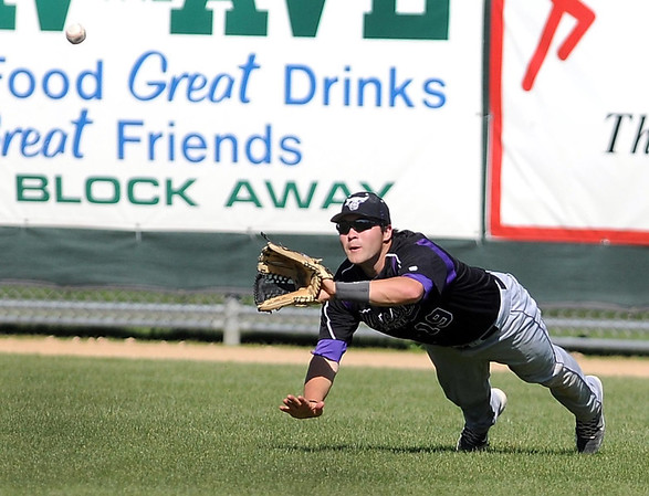 Minnesota State outfielder Ben Kincaid makes a diving catch to end the fourth inning against Wayne State Thursday at Franklin Rogers Park.