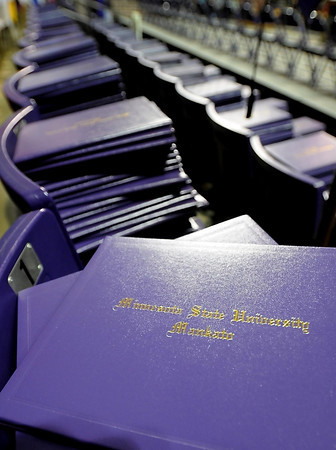 Pat Christman<br /> Hundreds of diploma folios wait to be distributed to graduates during Minnesota State's commencement Saturday.