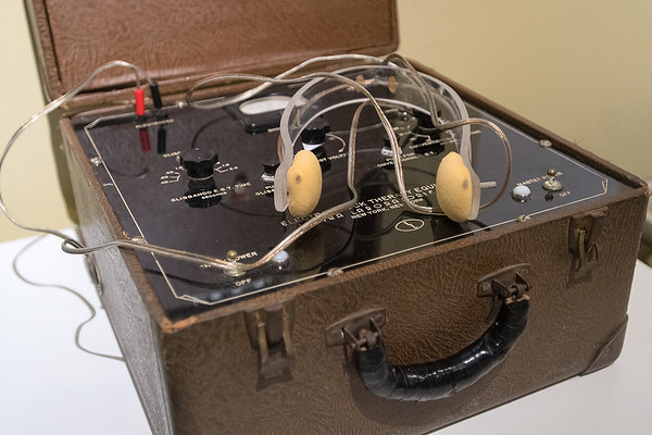 An old electroshock therapy machine at the exhibit State of Mind: A History of Minnesota's First State Hospital in the Nicollet County Historical Society building. Photo by Jackson Forderer