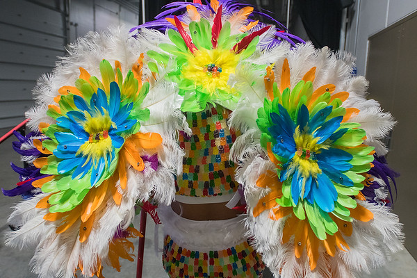 Jessica Lemert with Rhonda Milbrett Photography heads out to the runway in her Candy Carnivale costume, donned in feathers and Gummy Bears at the RAW Fusion fashion show. Photo by Jackson Forderer