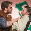 Guy of Gisbourne played by Zach Bolland (left) strangles Much the Miller played by Lucas Youngerberg during a dress rehearsal of Robin Hood at the Lincoln Community Center on Tuesday. The play features several choreographed fight scenes. Photo by Jackson Forderer