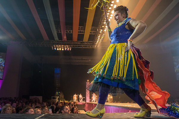 Beckie Haycraft with Bounce Town struts down the runway as The Eleanor in the RAW Fusion fashion show. Photo by Jackson Forderer
