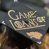 One of the many decorated hats at the Minnesota State University commencement ceremony on Saturday included Kennedy Rieck's Game of Thrones pun. Photo by Jackson Forderer