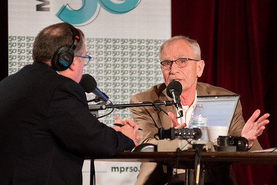 Gary Eichten (right) talks with Minnesota Public Radio's Tom Crann during a live airing of All Things Considered at the Kato Entertainment Center on Wednesday. The morning session was hosted by MPR Classical and the evening session hosted by the Current included a live performance f rom the Suburbs. Photo by Jackson Forderer