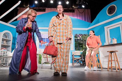 Carol Rath (left) gives Lisa Noll (center) tips on what she should wear and not wear to a job interview as Laura Conn (right) looks on in amusement of the outfit during a dress rehearsal of The Dixie Swim Club on Tuesday. The comedic play will run this weekend at the Lincoln Community Center. Photo by Jackson Forderer