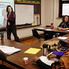 John Cross<br /> Claire Esslinger teaches an adult civics and employment class at the Lincoln Community Center.
