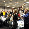 DFL supporters cheer as Barack Obama is projected to win the presidental election during a gathering Tuesday at the City Center Hotel.