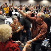 U.S. Congressman Tim Walz greets supporters after arriving at the DFL election gathering Tuesday night at the City Center Hotel in Mankato. Walz defeated Republican challenger Allen Quist for the Minnesota District 1 House seat.