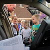 John ross<br /> Students at All Saints School in Madison Lake check out Blue Earth County Deputy Kyle Phillips' squad car during a winter safety survival presentation on Monday.