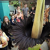 John Cross<br /> Gustavus Adolphus biology professor Cindy Johnson (lower left) talks to visitors on Thursday about the rare blossoming corpse flower that is on display at Afred Nobel Hall of Science.
