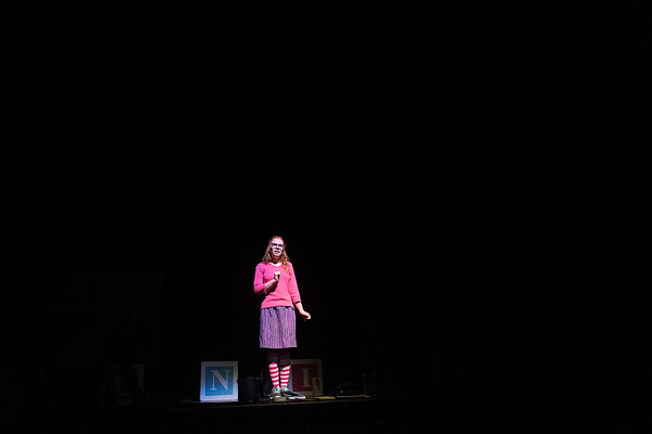"""Melisandra McLaughlin, playing the lead role of Junie B. Jones, gives a monologue in a dress rehearsal of the play """"Junie B. Jones in Jingle Bells, Batman Smells!"""" at Mankato West on Tuesday. Photo by Jackson Forderer"""