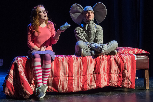 Melisandra McLaughlin (left), playing the role of Junie B. Jones, talks to her stuffed elephant Philip Johnny Bob, played by Ashton Samuelson during a dress rehearsal at Mankato West on Tuesday. Photo by Jackson Forderer