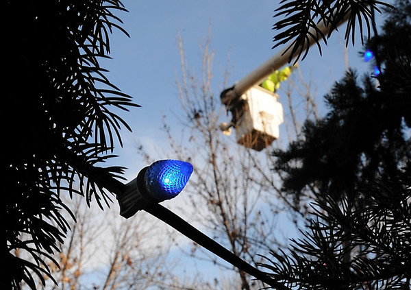 Pat Christman<br /> A city employee takes advantage of nice weather to string holiday lights on a tree Tuesday in Jackson Park.