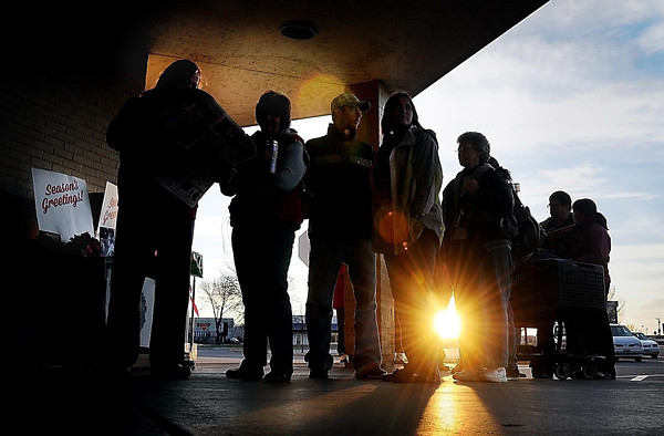 John Cross<br /> Shoppers que up outside of Shopko at dawn on Thursday awaiting the 8 a.m. opening of the store.