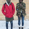 Nyabual Bayak (left), 18, and her twin sister Nyamuoch Bayak, Kenyan-American outside of Mankato East High School. Photo by Jackson Forderer