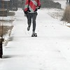 Snowy skateboard ride