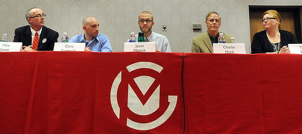 From left, Mike Laven, Chris Frederick, Jason Mattick, Charlie Hurd and Tamra Rovney participate in a forum for Mankato City Council candidates Thursday at the City Center Hotel.