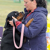 A Rottweiler named Vegas gets a pep talk from handler Tanya Johnson before her run Saturday.