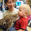Lisa Putrah watches as her 17-month-old son Matthew gets a kiss from Newberry, one of the dogs performing at the K9 Kings Flying Dog Show Wednesday at Scheels in Mankato.